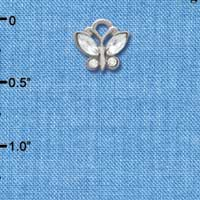 C3780 tlf - Mini Butterfly with Clear Resin Wings & Clear Crystals - Im. Rhodium Plated Charm (6 per package)
