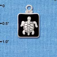 C3813 tlf - Turtle on Black Pendant with Silver Frame - Silver Plated Pendant (6 per package)