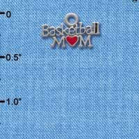 C3825 tlf - Basketball Mom with Red Heart - Im. Rhodium Plated Charm (6 per package)