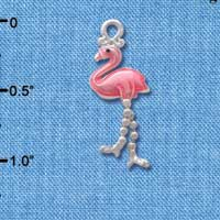 C3835 tlf - Flamingo with Dangle Legs - Silver Plated Charm (2 per package)
