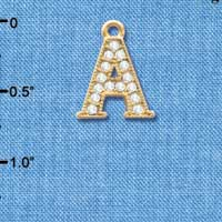 C3836 tlf - Crystal - A - Beaded Border - Gold Plated Charm (2 per package)