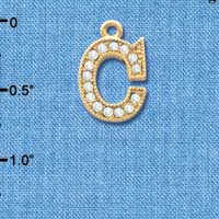 C3838 tlf - Crystal - C - Beaded Border - Gold Plated Charm (2 per package)