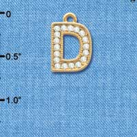 C3839 tlf - Crystal - D - Beaded Border - Gold Plated Charm (2 per package)