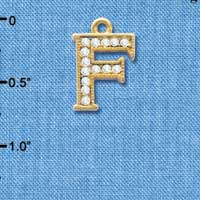 C3841 tlf - Crystal - F - Beaded Border - Gold Plated Charm (2 per package)