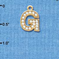 C3842 tlf - Crystal - G - Beaded Border - Gold Plated Charm (2 per package)