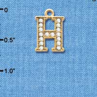 C3843 tlf - Crystal - H - Beaded Border - Gold Plated Charm (2 per package)