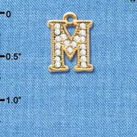 C3848 tlf - Crystal - M - Beaded Border - Gold Plated Charm (2 per package)