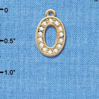 C3850 tlf - Crystal - O - Beaded Border - Gold Plated Charm (2 per package)