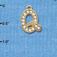 C3852 tlf - Crystal - Q - Beaded Border - Gold Plated Charm (2 per package)