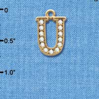 C3856 tlf - Crystal - U - Beaded Border - Gold Plated Charm (2 per package)