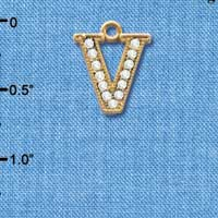 C3857 tlf - Crystal - V - Beaded Border - Gold Plated Charm (2 per package)