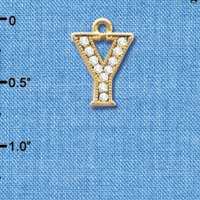 C3860 tlf - Crystal - Y - Beaded Border - Gold Plated Charm (2 per package)