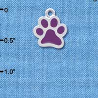 C3892 tlf - Medium Translucent Purple Paw - 2 Sided - Silver Plated Charm (6 per package)