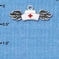 C3942 tlf - Enamel Nurse Hat with Wings - Silver Plated Charm (6 per package)
