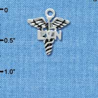 C3943 tlf - Caduceus with LVN - Silver Plated Charm (6 per package)