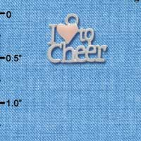 C3947 tlf - I love to Cheer with Pink Heart - Silver Plated Charm (6 per package)
