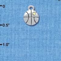 C3966+ tlf - Mini Silver Basketball with a AB Crystal - 2 Sided - Silver Plated Charm (6 per package)