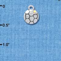 C3967+ tlf - Mini Silver Soccerball with a AB Crystal - 2 Sided - Silver Plated Charm (6 per package)