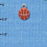 C3973+ tlf - Mini Enamel Basketball - 2 Sided - Im. Rhodium Plated Charm (6 per package)