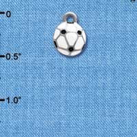 C3974+ tlf - Mini Enamel Soccerball - 2 Sided - Im. Rhodium Plated Charm (6 per package)