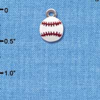 C3975+ tlf - Mini Enamel Baseball - 2 Sided - Im. Rhodium Plated Charm (6 per package)