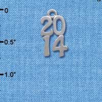 C4015 tlf - Silver Vertical Year - 2014 - Im. Rhodium Plated Charm (6 per package)
