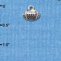 C4027+ tlf - Small Silver Football with AB Crystal - 2 Sided - Im. Rhodium Plated Charm (6 per package)