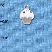 C4031+ tlf - Small White Cupcake with Multicolored Crystal Sprinkles - Silver Plated Charm (6 per package)