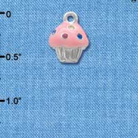 C4033+ tlf - Small Pink Cupcake with Multicolored Crystal Sprinkles - Silver Plated Charm (6 per package)
