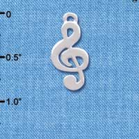C4063 tlf - Silver Rounded Clef Music Note - Silver Plated Charm (6 per package)