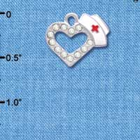 C4082 tlf - Small Crystal Heart with Nurse Hat - Silver Plated Charm (2 per package)