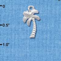 C4110+ tlf - Silver Palm Tree - Silver Plated Charm (6 per package)