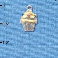 C4143+ tlf - Two Tone Cupcake with Crystal Sprinkles - Im. Rhodium & Gold Plated Charm (2 per package)