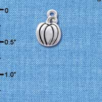 C4177+ tlf - Small Silver Pumpkin - Silver Plated Charm (6 per package)