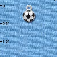 C4220+ tlf - 3-D Soccerball - Silver Plated Charm (6 per package)