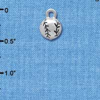 C4224+ tlf - 3-D Small Silver Baseball/Softball - Silver Plated Charm (6 per package)