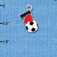 C4238 tlf - I love Soccer - Red Heart - Silver Plated Charm (6 per package)