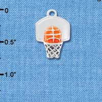 C4286+ tlf - 3-D Enamel Basketball in Hoop - Silver Plated Charm (6 per package)