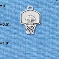 C4287+ tlf - 3-D Silver Basketball in Hoop - Silver Plated Charm (6 per package)