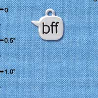 C4298 tlf - bff - Best Friends Forever - Text Chat - Silver Plated Charm (6 per package)