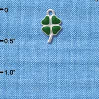 C4305 tlf - Mini Green Heart Leaves Four Leaf Clovers - 2 Sided - Silver Plated Charm (6 per package)