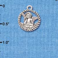 C4461+ tlf - Raphael Angel in Rope Wreath - Silver Plated Charm (6 per package)