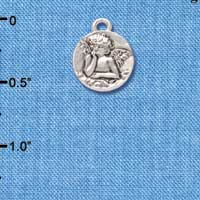 C4465+ tlf - Small Raphael Angel on Disc - Silver Plated Charm (6 per package)
