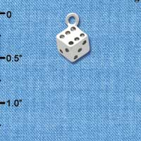 C4474+ tlf - Silver Dice - Silver Plated Charm (6 per package)