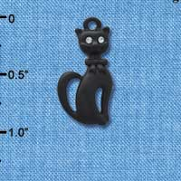 C4490 tlf - Tall Sitting Matte Black Cat - Silver Plated Charm (2 per package)