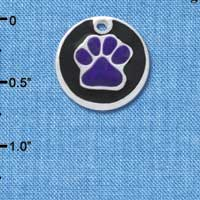 C4491+ tlf - Purple Paw on Black Disc - Silver Plated Charm (2 per package)