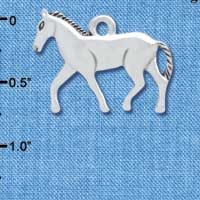 C4504+ tlf - Silver Walking Horse - Silver Plated Charm (6 per package)