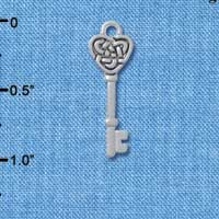C4573+ tlf - Celtic Knot Heart Key - Silver Plated Charm (6 per package)