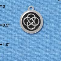 C4578+ tlf - Celtic Knot in Black Circle - Silver Plated Charm (6 per package)