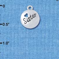 C4612+ tlf - Sister Disc with Cutout Heart - Silver Plated Charm (6 per package)